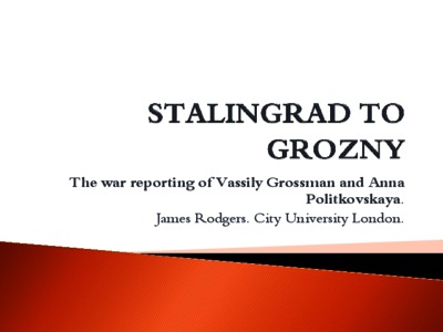 City Research Online - From Stalingrad to Grozny: patriotism