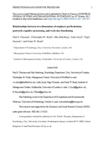 City Research Online - Relationships between two dimensions of