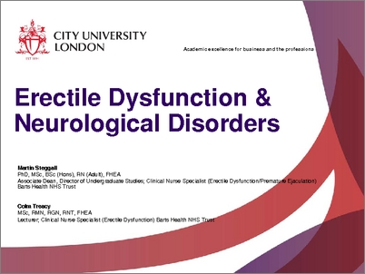 Sexual dysfunction in neurological disorders