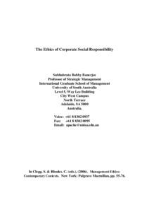 corporate social responsibility banerjee s b
