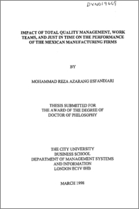 Doctoral thesis on tqm